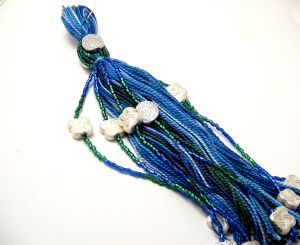 7 inch blue and green beaded tassel