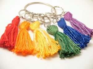 Bright Rainbow Beaded Tassel Keyring Set