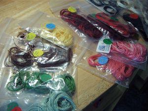 Cut pearl cotton thread in bags