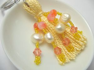 Pink German Vintage Bead and Yellow Pearl Beaded Tassel Keyring