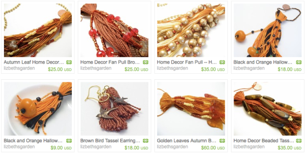 Screen Shot of Autumn Beaded Tassels from Lizbeth's Garden on Etsy