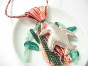 Tropical Penguin Christmas Ornament Beaded Tassel