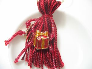 Red Presents Beaded Tassel Christmas Ornament